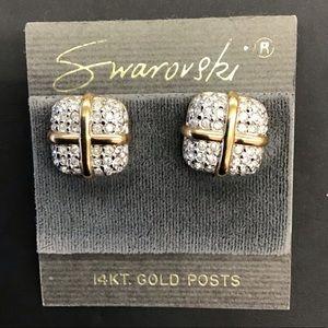 Swarovski 14KT Gold Earrings, White Adornments